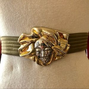 Vintage Charmant Gold Silver Women Face Belt Art